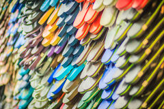 Colorful flip flop sandals in store at Khao San Road night marke Royalty Free Stock Photography