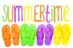 Colorful flip flop sandals  on white background. Top view with summertime illustrative text stock photo