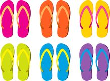 Colorful Flip Flops. A background of 6 different pairs of colorful flip flops isolated on a white background Stock Image