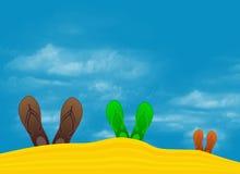 Colorful flip flops on the beach. Colorful flip flops on beach against sunny sky Stock Photos