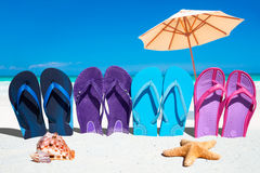 Colorful flip flops on the beach. Some colorful flip flops in a row with starfish and seashell in the foreground and sunshades in the background Royalty Free Stock Photos
