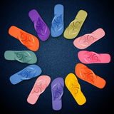 Colorful Flip Flops on circle shape Stock Photo