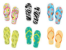 Colorful flip flops collection vector illustration Stock Images