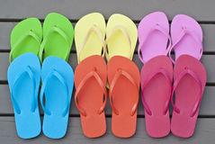Colorful Flip Flops on the Deck Royalty Free Stock Photo