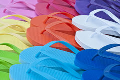 Colorful Flip Flops on the Deck Royalty Free Stock Photography