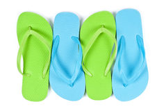 Colorful Flip Flops Isolated on White Stock Photography