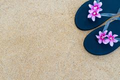 Colorful flip flops on the sandy beach.  Black slippers with a pink flower on the sand stock photos