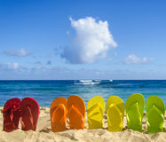 Colorful flip flops on the sandy beach Royalty Free Stock Photo