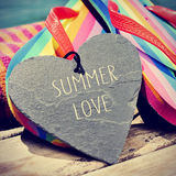 Colorful flip-flops and text summer love, slight vignette added Royalty Free Stock Photography