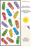 Colorful flip-flops visual logic puzzle. Mental gym visual logic puzzle (suitable both for kids and adults): Match the pairs of colorful flip-flop sandals. Spot Stock Images