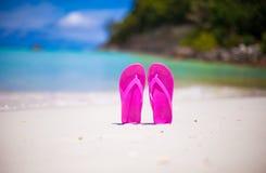Colorful flipflop pair on sea beach Stock Photos