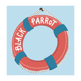 Colorful floatation hoop, lifebuoy ring hanging on pirate ship Stock Images