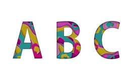 Colorful floating cut paper style letters ABC. Many paper layers alphabet isolated on white background. Vector eps 10. Colorful floating cut paper style letters Stock Images