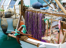 Colorful, floating nets of a fishing boat Royalty Free Stock Photo