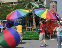 Colorful floats of Indy Pride Parade stock image