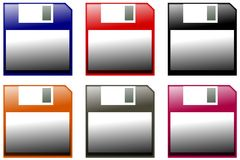 Colorful floppy disk. Image repesenting a set of colorful isolated floppy disks Stock Photo