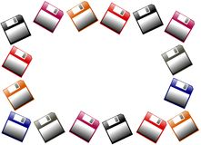 Colorful floppy disk frame isolated Royalty Free Stock Image