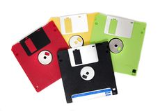 Colorful floppy disks Stock Images