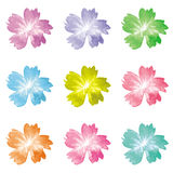 9 Colorful flora vector icon Royalty Free Stock Images