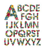 Colorful floral alphabet. Stock Photography