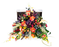 Colorful floral arrangement of roses, lilies, freesia and iris Stock Photos