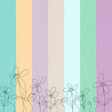 Colorful floral background. Striped background with pastel colors with silhouettes of flowers and scrolls Stock Image