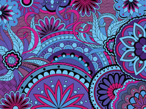 Colorful floral background in boho style. Hand drawn doodle colorful  floral background with mandalas i boho style. Vector illustration - eps 10 Royalty Free Stock Photo