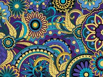 Colorful floral background in boho style. Hand drawn doodle colorful  floral background with mandalas. Vector illustration - eps 10 Stock Images