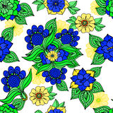 Colorful floral background drawing on white. In blue tones Royalty Free Stock Images
