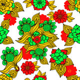 Colorful floral background drawing on white Royalty Free Stock Images