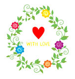 Colorful floral background with  flowers and heart Royalty Free Stock Photos
