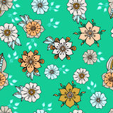 Colorful floral background on green. Abstract plant background of drawn shapes and leaves Royalty Free Stock Photography
