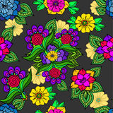 Colorful floral background on grey Royalty Free Stock Photos