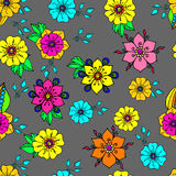 Colorful floral background on grey Stock Photo