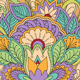 Colorful floral background. Hand drawn doodle colorful  floral background with mandala. Vector illustration - eps 10 Stock Photography