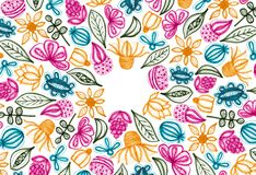 Colorful Floral Background With Hand Drawn Elements. Colorful floral pattern with hand drawn elements. Full frame. White background. Copy space royalty free illustration