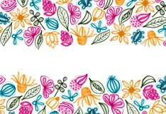 Colorful Floral Background With Hand Drawn Elements. Colorful background with hand drawn floral elements. White background. Copy space stock illustration