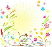 Colorful  floral background. With sun and colorful flowers Stock Images