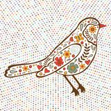 Colorful floral bird on dotted background Royalty Free Stock Photo