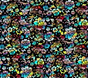 Colorful floral black background seamless pattern royalty free illustration