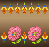 Colorful Floral Border background. Colorful Floral Border with pink and orange Artistic flowers.  Beaded Diamond look Design for Background. Vector available Royalty Free Stock Image
