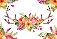 Colorful floral bouquet with leaves, horns and flowers, drawing watercolor. Royalty Free Stock Photos