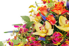 Colorful floral bouquet of roses, cloves and orchids Stock Photo