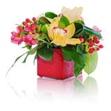 Colorful floral bouquet of roses, cloves and orchids arrangement Stock Photo