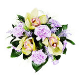 Colorful floral bouquet of roses,cloves and orchids isolated Stock Photography