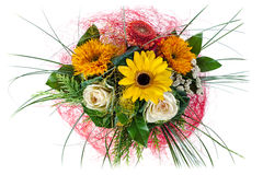 Сolorful floral bouquet of roses and sunflowers isolated Royalty Free Stock Images