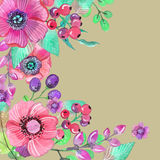 Colorful floral card with leaves and flowers, watercolor illustr Royalty Free Stock Images