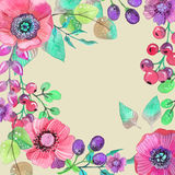 Colorful floral card with leaves and flowers, watercolor illustr Royalty Free Stock Photography