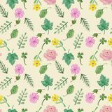 Colorful floral collection with leaves and flowers, hand drawn Royalty Free Stock Image