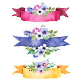 Colorful floral collection with multicolored flowers,leaves,branches,berries,ribbons and more. 3 beautiful pre-made logo template for your own design.Pastel Royalty Free Stock Photos